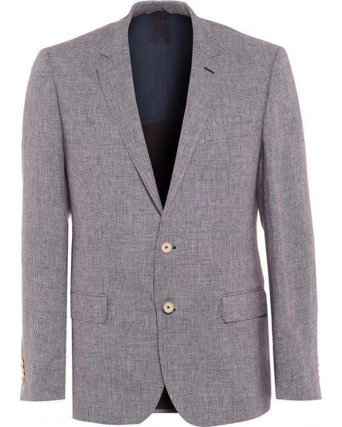 Hugo Boss Black Hutch Mens Blazer Slim Fit Blue Linen Texture Jacket