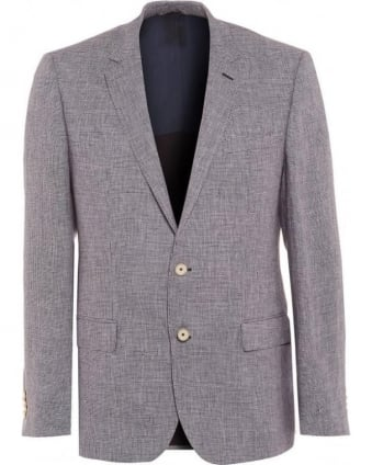 Hutch Mens Blazer Slim Fit Blue Linen Texture Jacket