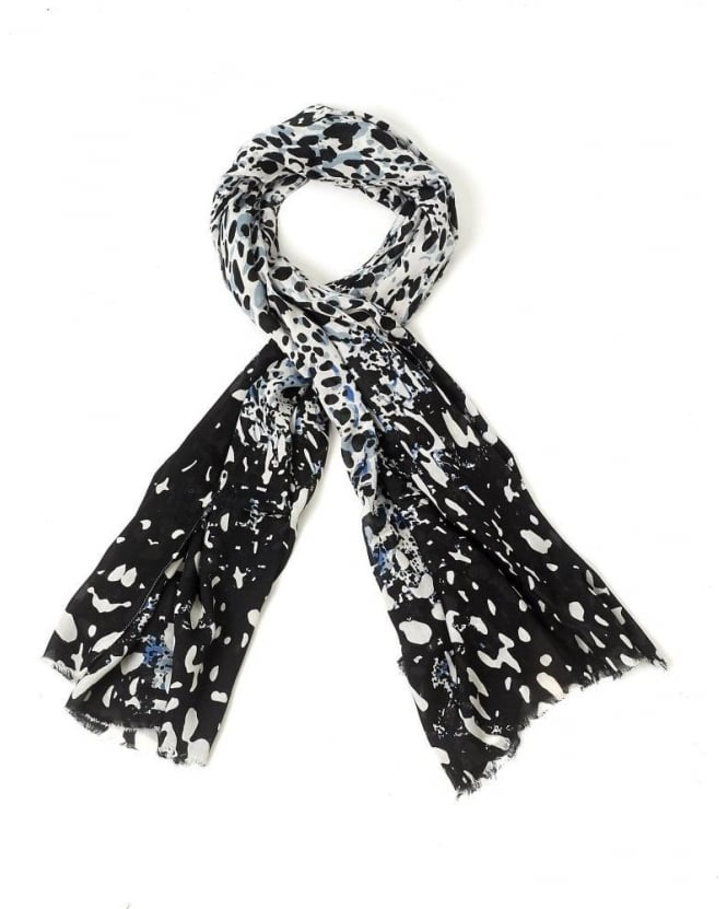 I Blues Black, White And Blue Animal Print 'Babba' Rectangle Scarf