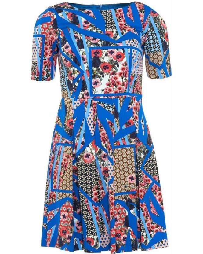 I Blues Dress 'Roger' Blue Multi Electric Blue Full Skirt Dress