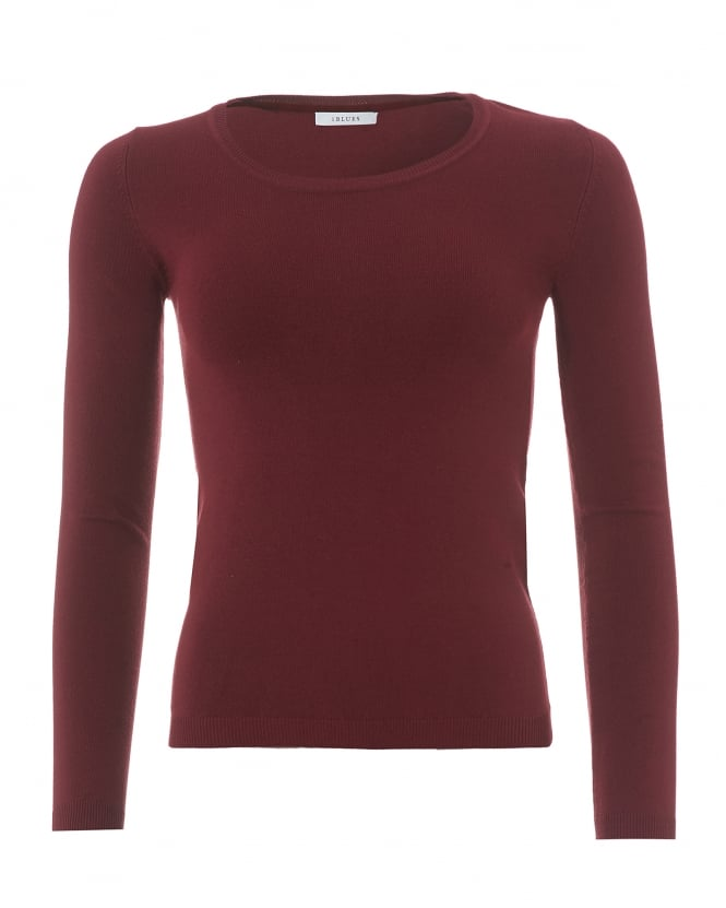 I Blues Womens 3/4 Sleeve Burgundy Red Knit Jumper