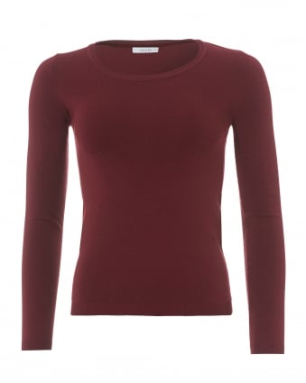 Womens 3/4 Sleeve Burgundy Red Knit Jumper