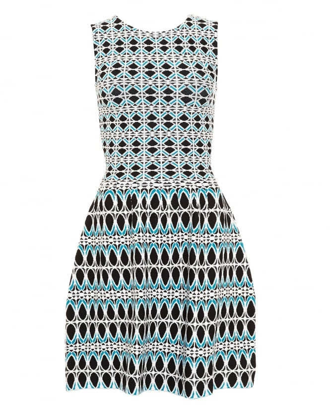 I Blues Womens Acerbi Knitted Blue Geometric Dress