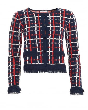 Womens Alloro Jacket, Shorter Length Navy Red White Cardigan Jacket