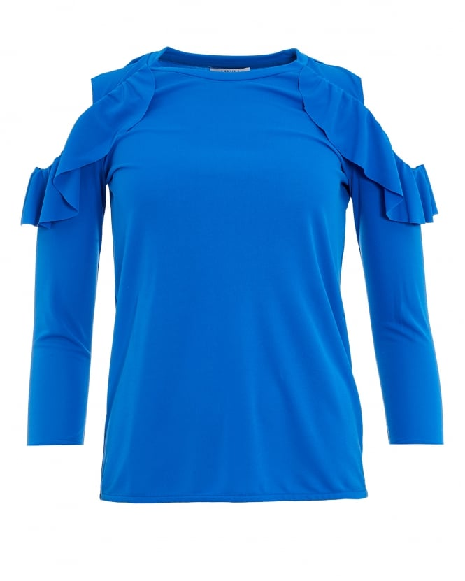 I Blues Womens Austral Cold Shoulder Frill Turquoise Blue Top