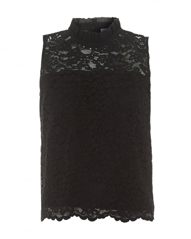 I Blues Womens Black Hi-Neck Lace Sleeveless Top