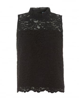 Womens Black Hi-Neck Lace Sleeveless Top