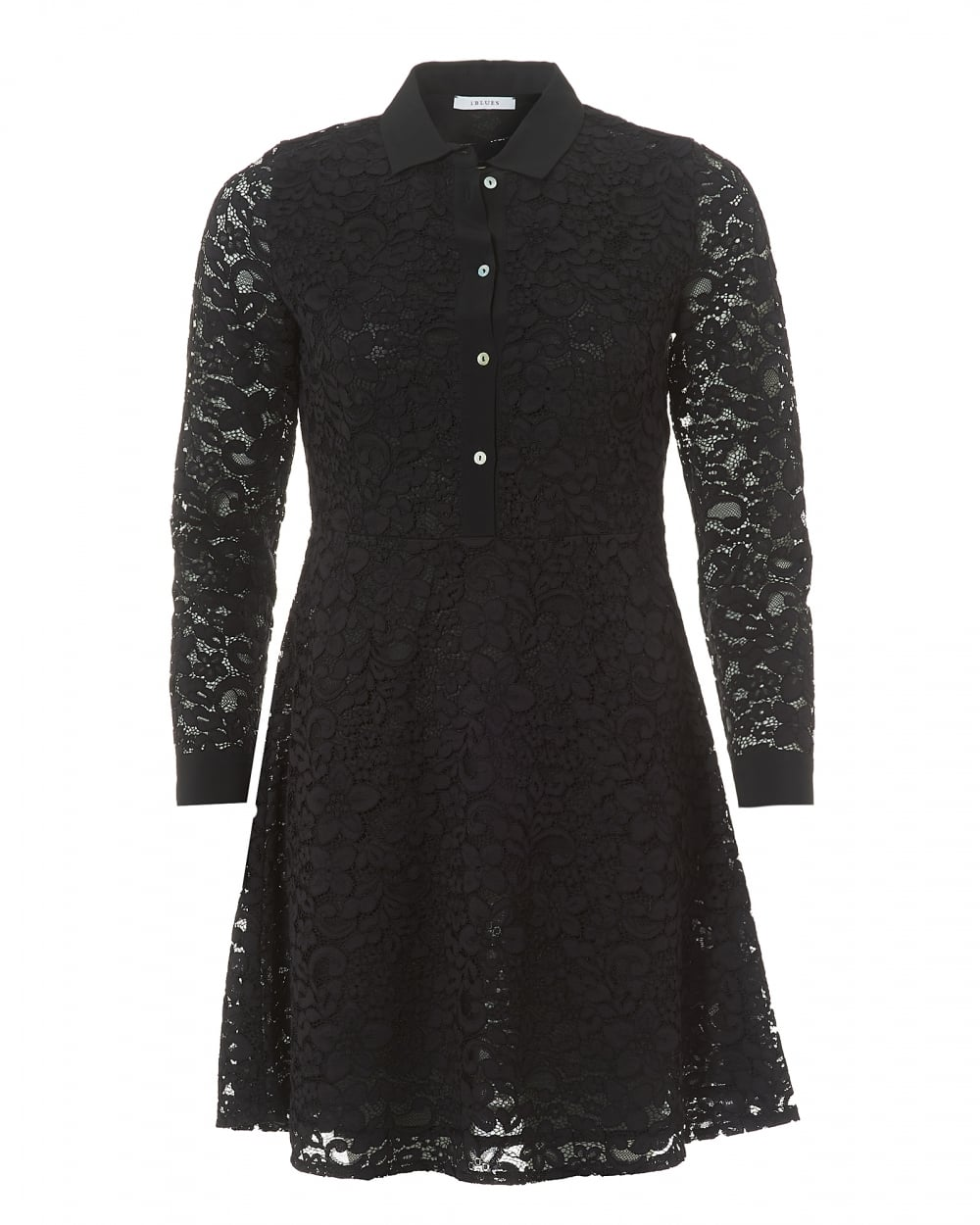 Iblues Womens Black Lace Collared Long Sleeve Dress