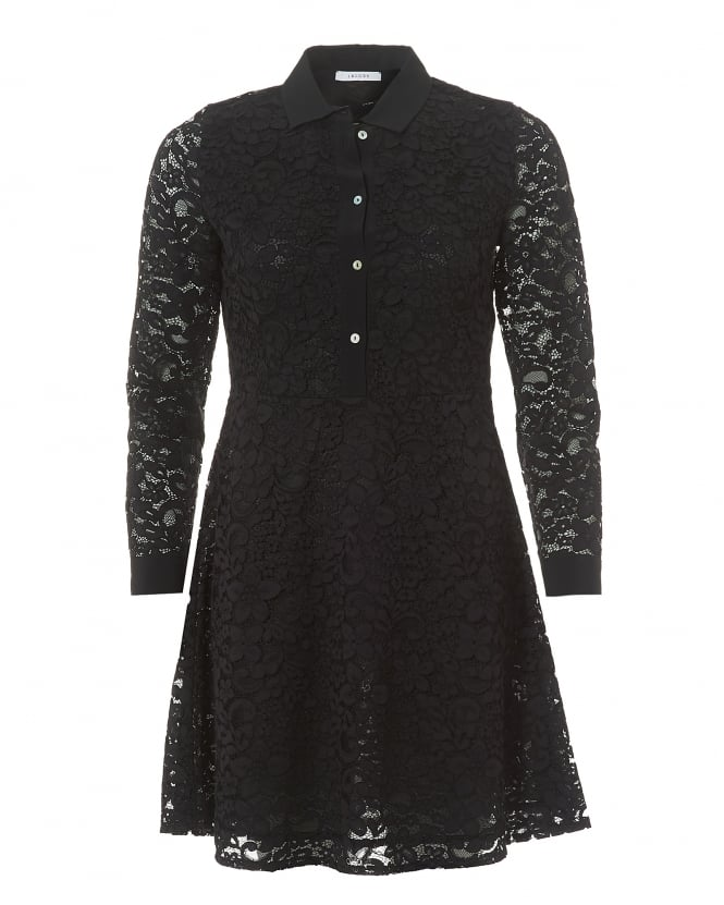 I Blues Womens Black Lace Collared Long Sleeve Shirt Dress