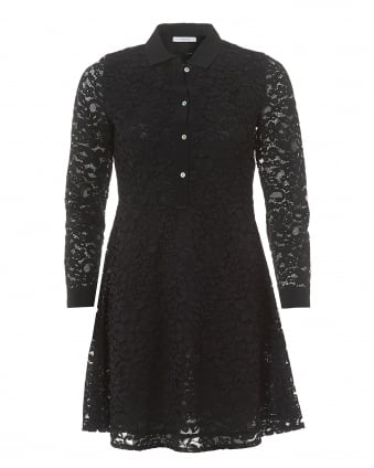 Womens Black Lace Collared Long Sleeve Shirt Dress