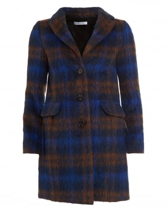 Womens Blue Tan Checked Wool Mohair Coat