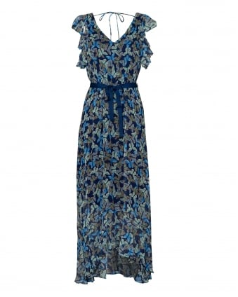 Womens Caffe Maxi Dress, Butterfly Print Navy Blue Dress