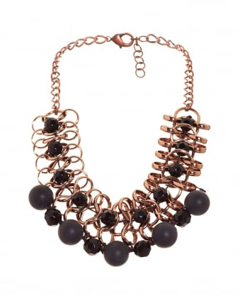 Womens Centro Black Stone Rose Gold Necklace