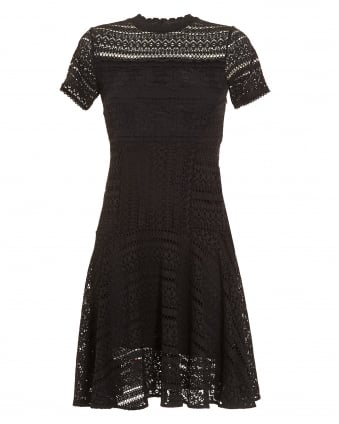 Womens Cialda Dress, Black Lace Fit and Flare Skater Dress