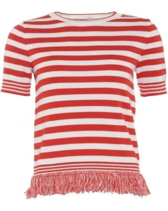 Womens Colmo Jumper, Red White Fringe Striped Knitwear