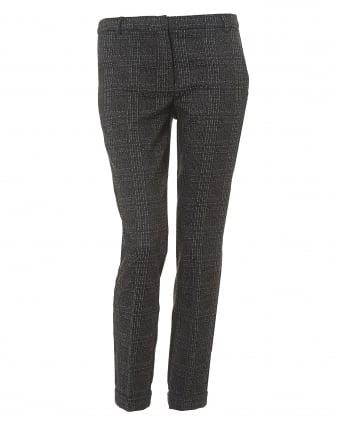 Womens Cropped Ankle Medium Grey Checked Trousers