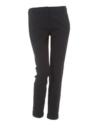 Womens Cropped Ankle Navy Blue Trousers