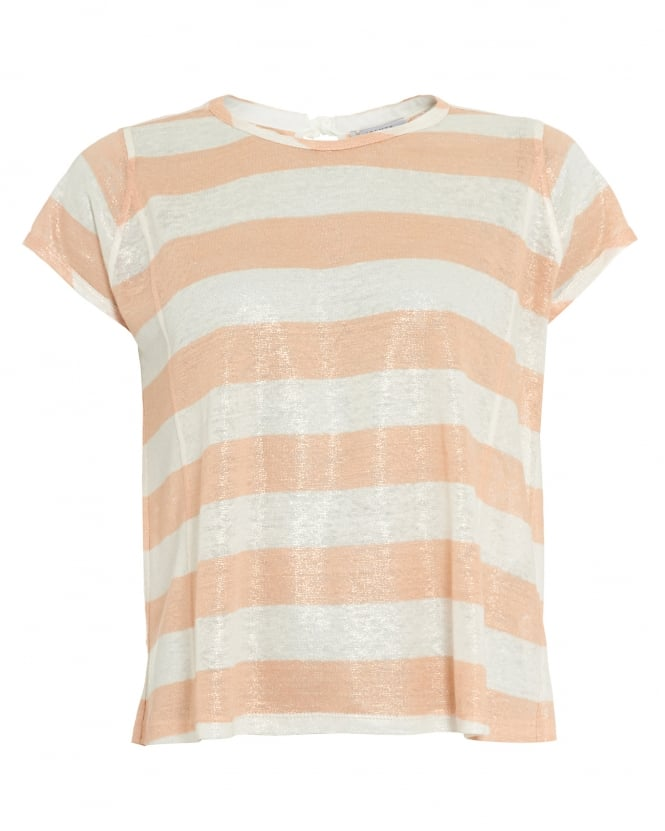 I Blues Womens Decreto Top, Peach White Candy Stripe T-Shirt