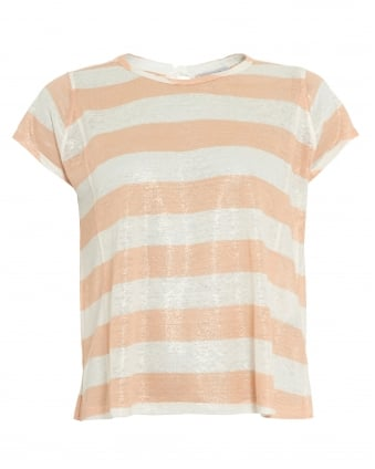Womens Decreto Top, Peach White Candy Stripe T-Shirt