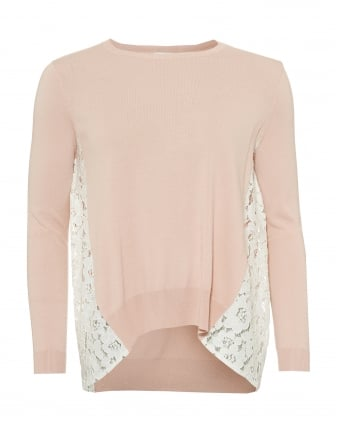 Womens Eccesso Knit, Lace Panels Powder Pink Jumper