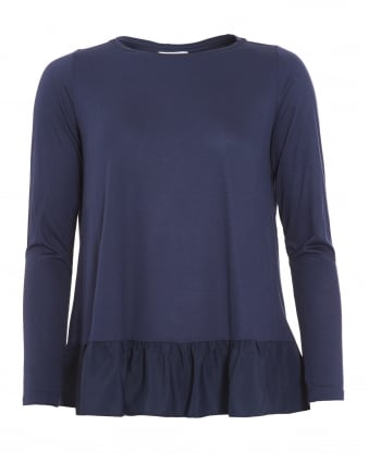 Womens Editor Top, Navy Blue Pleated T-Shirt