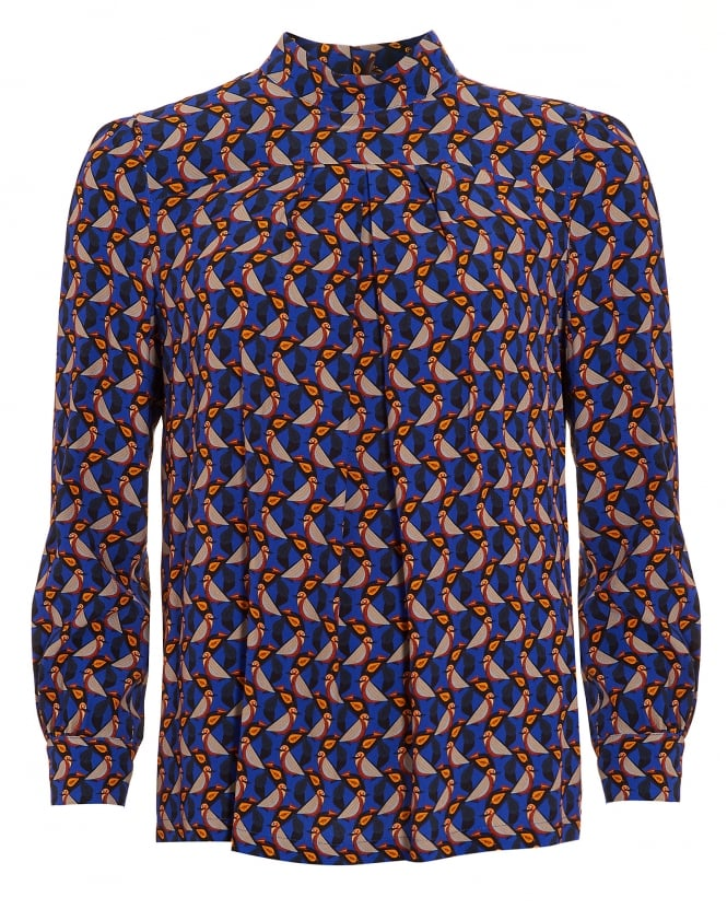 I Blues Womens Femme Geometric Bird Blue Top