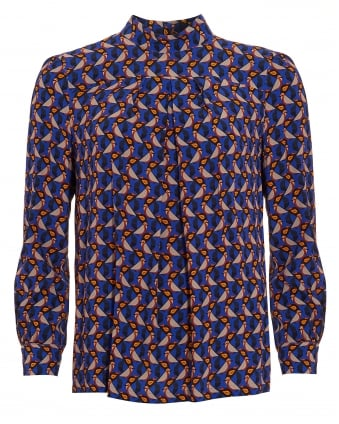 Womens Femme Geometric Bird Blue Top