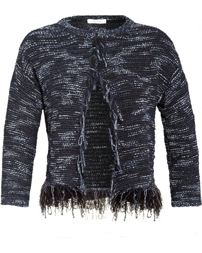 I Blues Womens Finto Cardigan, Navy Blue Tweed Jacket