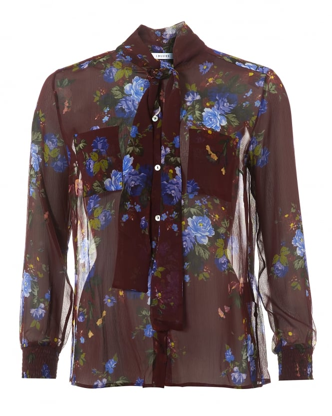 I Blues Womens Floral Shirt, Silk Bow Neck-Tie Blouse