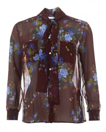 Womens Floral Shirt, Silk Bow Neck-Tie Blouse
