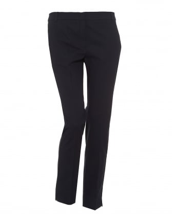 Womens Fresco Trousers, Ribbed Texture Navy Blue Trousers