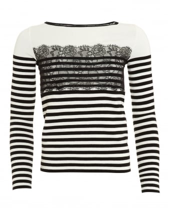Womens Gatta Jumper, Lace Stripe Black White Jumper