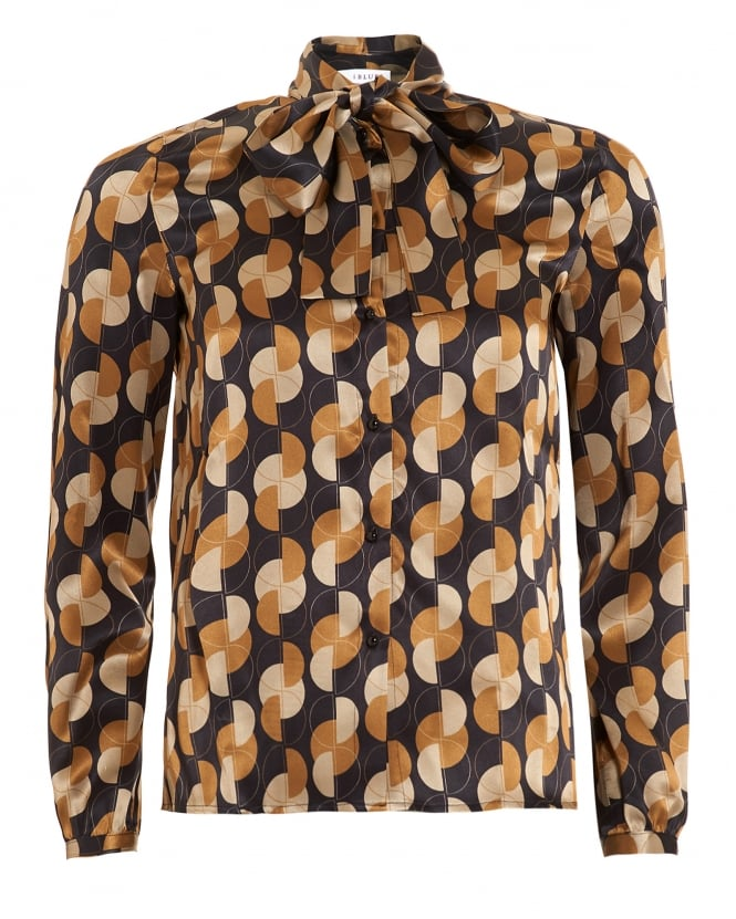 I Blues Womens Gela Shirt, Geometric Bow Camel Blouse