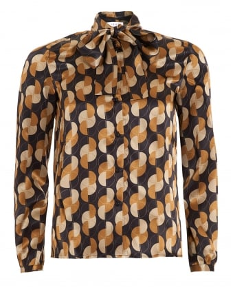 Womens Gela Shirt, Geometric Bow Camel Blouse