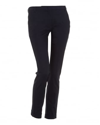 Womens Harry Trousers, Cropped Navy Cigarette Trousers