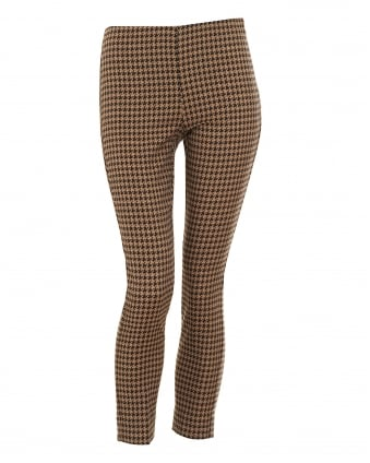 Womens Houndstooth Jacquard Camel Trousers