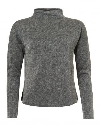 Womens Ivrea Knit, Turtle Neck Lurex Silver Jumper