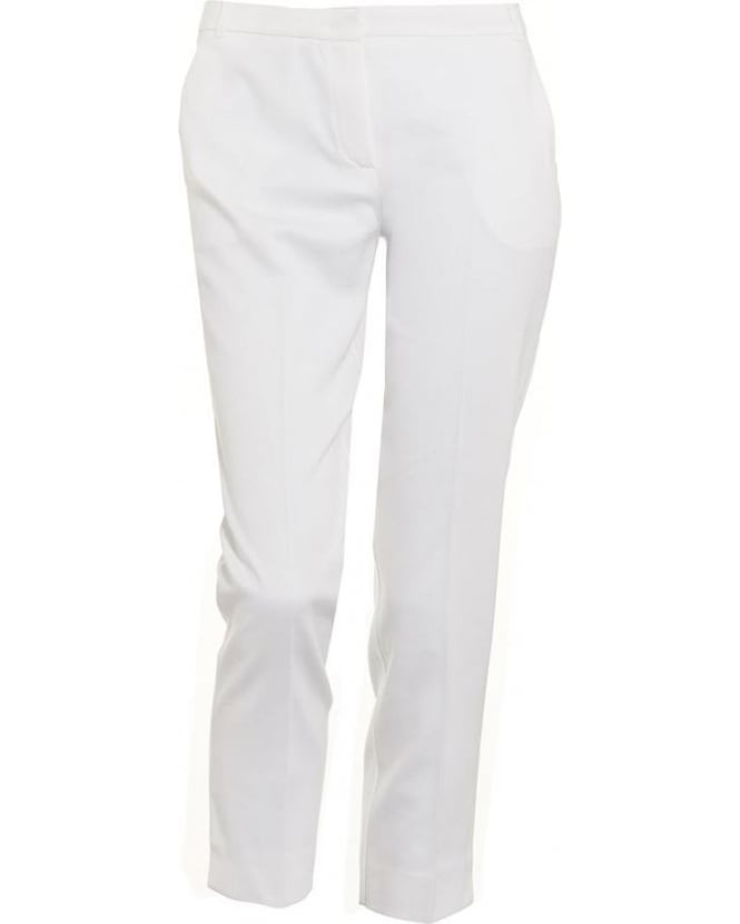 I Blues Womens Lapillo Trousers, White Cropped Cigarette Pencil Trousers