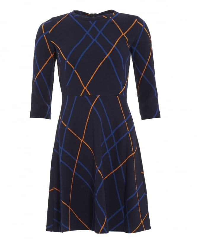 I Blues Womens Leale Dress, Navy Blue Check Skater Dress