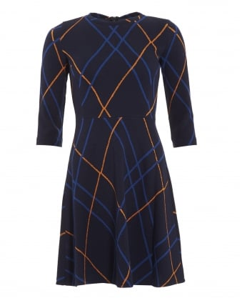Womens Leale Dress, Navy Blue Check Skater Dress