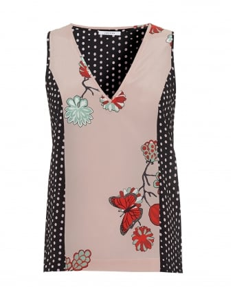 Womens Londra Sleeveless Floral Dot Black Pink Top