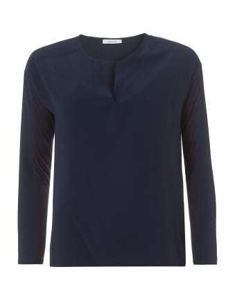 Womens Midnight Blue Tunic Neck Crepe Top