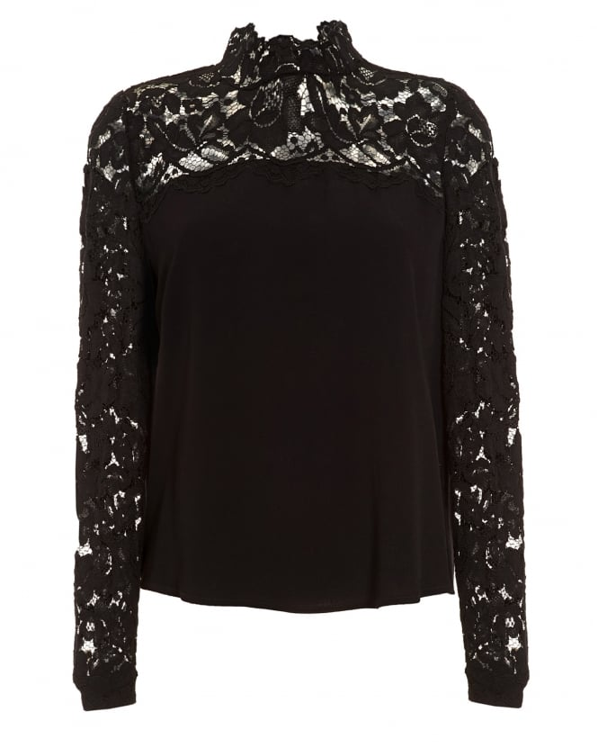 I Blues Womens Museo Blouse, High Neck Lace Black Top