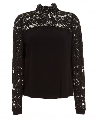 Womens Museo Blouse, High Neck Lace Black Top