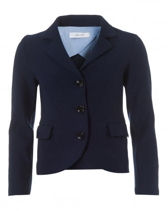 Womens Navy Blue Boiled Wool Single Breasted Jacket