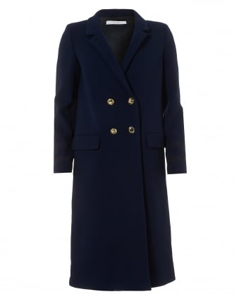 Womens Navy Blue Double Breasted Classic Wool Coat