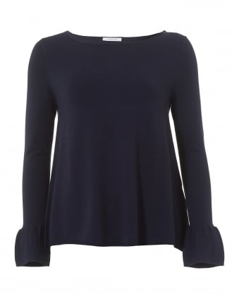 Womens Navy Blue Frilled Cuff Jumper