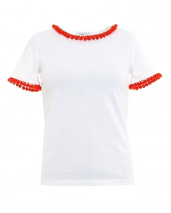 Womens Nocher T-Shirt, White Pom Pom Tee