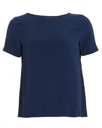 Womens Oracolo Blouse, Short Sleeve Navy Blue Top