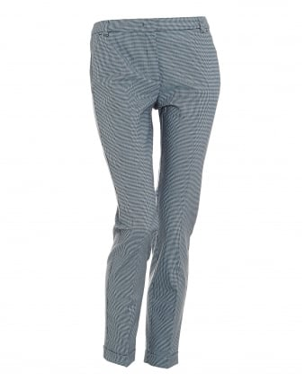 Womens Orbita Trousers, Small Check Light Blue Cigarette Trousers